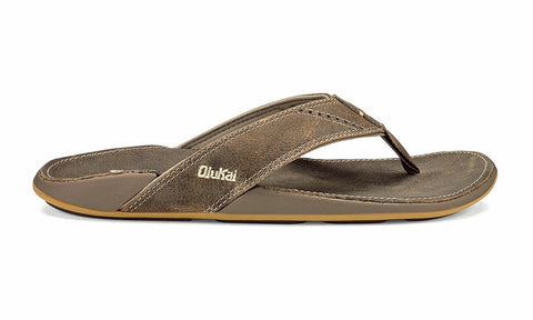 Olukai Nui Men's Leather Sandals - Clay/ Clay