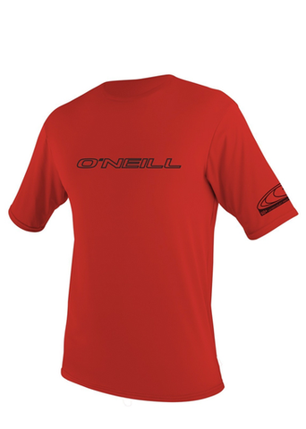 ONEILL Basic Skins SS Rashguard Loose Fit Lycra Tee - Red - SURF WORLD Fort Lauderdale Florida