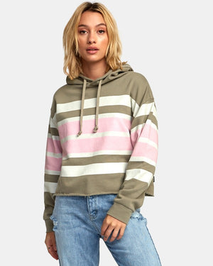RVCA Quarter Striped Womens Hoodie - Sage