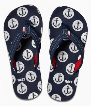 Reef Ahi Kids's Anchors Sandals - Navy SURF WORLD