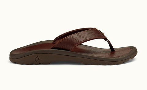 Olukai  Kupuna Rum / Rum Brown Men's Leather Sandals Flip Flops 10293SKSK - SURF WORLD  - 1