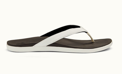 Olukai Ho'opio Women's Sandals - White/ Black - SURF WORLD Fort Lauderdale Florida