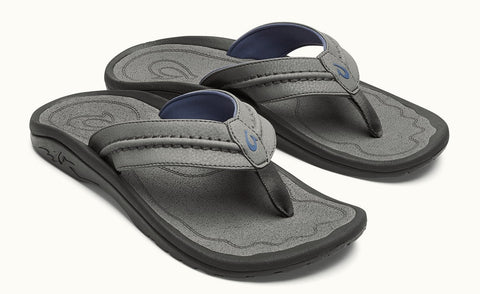 Olukai Hokua sandals - Charcoal/ Charcoal - SURF WORLD Fort Lauderdale Florida