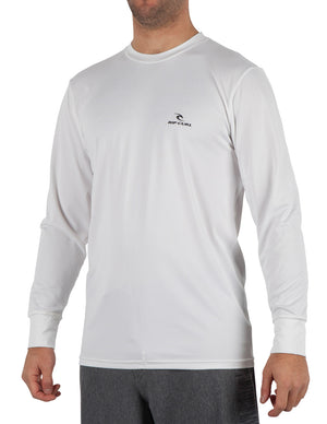 Rip Curl Search Series Mens LS Rashguard - White SURF WORLD