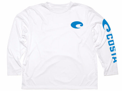 Costa Technical Core Long Sleeve White Shirt UV Protection - SURF WORLD Fort Lauderdale Florida