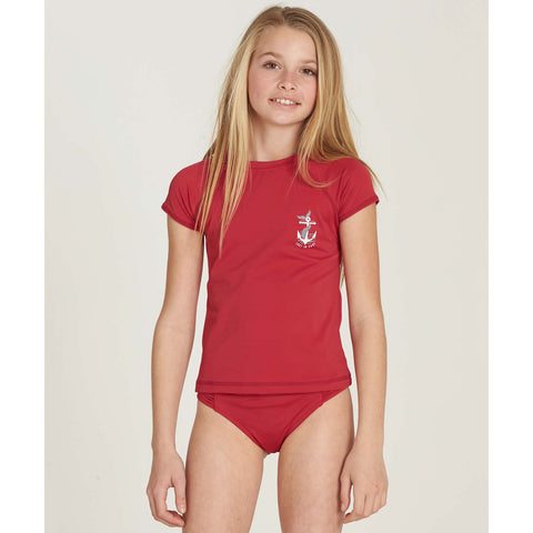 Billabong Girls Sol Searcher SS Youth Rashguard - Rasberry - SURF WORLD Fort Lauderdale Florida