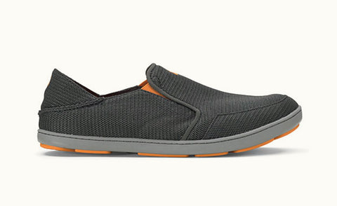 Olukai Men's Nohea Mesh Slip On Shoes Dark Shadow with orange accents - SURF WORLD  - 1