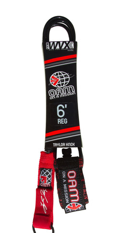 OAM Comp 6' Taylor Knox LTD Black Red Tagger Surfboard Leash LE10C6TKRD - SURF WORLD Fort Lauderdale Florida