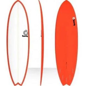 "Torq 6'10"" Fish Surfboard - White Red SURF WORLD"