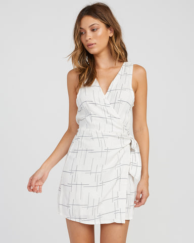 RVCA Crossed Off Wrap Dress - Vintage White