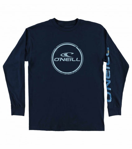 O'Neill Wind Jammer Men's Long Sleeve T Shirt - Navy  - White - SURF WORLD Fort Lauderdale Florida