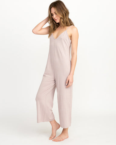 RVCA Bounce Wide Leg Lounge Jumpsuit - Pavement