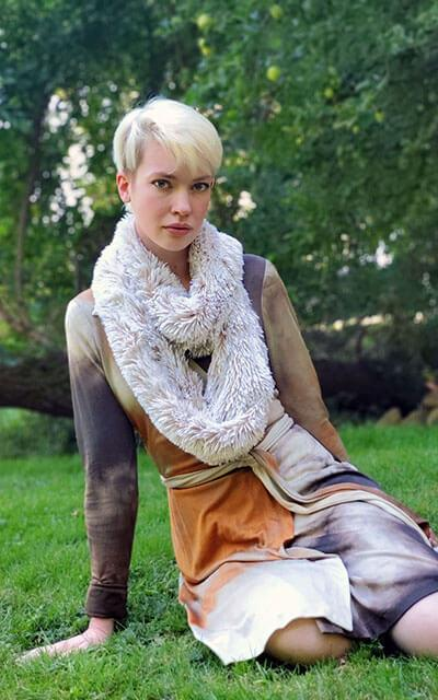 Infinity Scarf in meadow faux fur handmade in Seattle WA USA