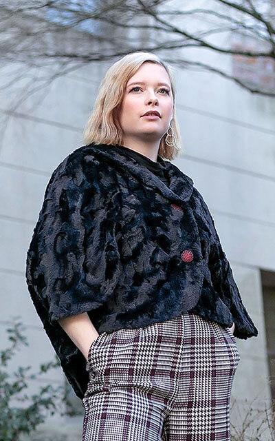 Opera cape in Cuddly Sand Faux Fur - handmade in Seattle, WA