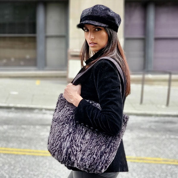 Tokyo Tote in Siberian Faux Fur with Valerie Cap style hat in Pebbles Black - Handmade in Seattle, WA USA