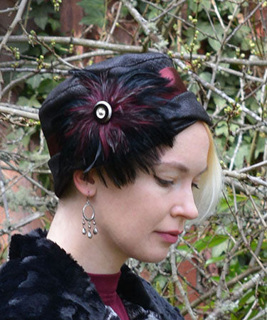 Women's Feather Medallion in Black Burgundy with Silver/Black Glass Button on Hat | Handmade in Seattle WA | Pandemonium Millinery