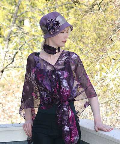 Women's Garden Path Wrist Scarf in Azalea as Choker with Matching Poncho | Handmade in Seattle WA | Pandemonium Millinery