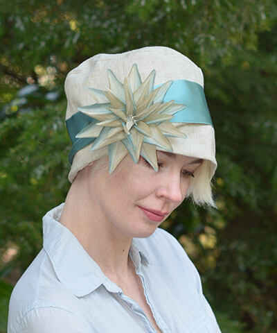 Lola Hat in Oatmeal Linen with Large Flower Brooch Handmade by Pandemonium Seattle