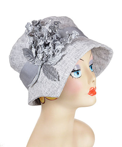Flower Brooch Small Velvet Cluster in Gray on Metallic Silver Linen Hat | Pandemonium Millinery