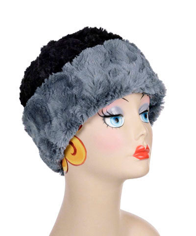 Beanie Hat, Reversible - Cuddly Faux Fur in Slate - Med / Slate / Black - Hats - Pandemonium Millinery