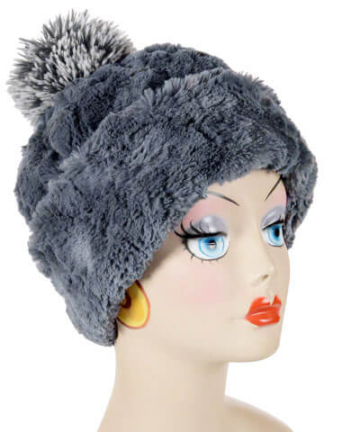 Beanie Hat, Reversible - Cuddly Faux Fur in Slate -  - Hats - Pandemonium Millinery