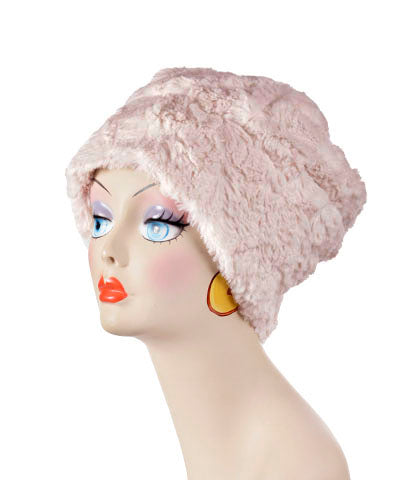 Beanie Hat, Reversible - Cuddly Faux Fur in Sand - Med / Sand / Chocolate - Hats - Pandemonium Millinery