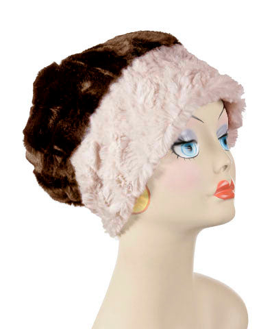 Beanie Hat, Reversible - Cuddly Faux Fur in Sand -  - Hats - Pandemonium Millinery