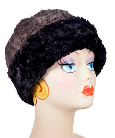 Beanie Hat, Reversible - Cuddly Faux Fur in Black