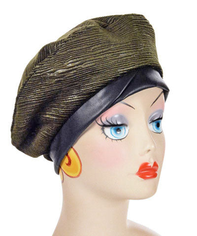 Beret, Reversible - Cohen Upholstery - Medium / Cohen in Olive / Cuddly Black / Hat Only - Hats - Pandemonium Millinery