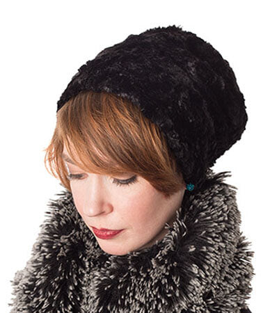 Cuffed Pillbox, Reversible (Solid) - Cuddly Faux Furs