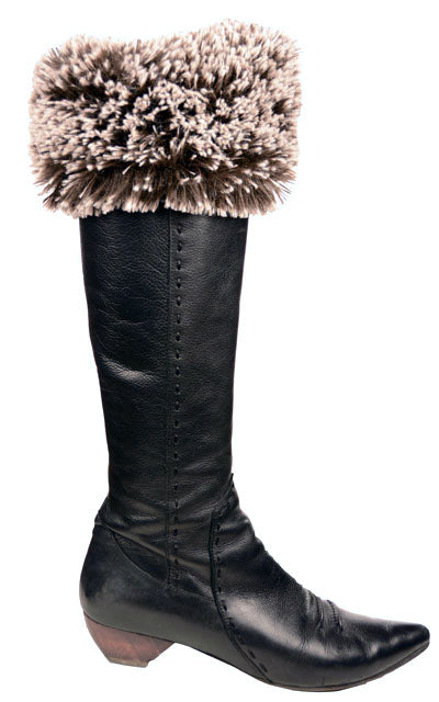 Boot Topper - Silver Tipped Fox in Brown Faux Fur (Classic Dye Lots - Limited Availability)