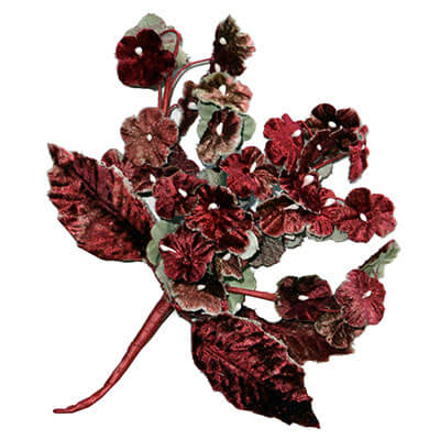 Flower Brooch Small Velvet Cluster in Red | Pandemonium Millinery