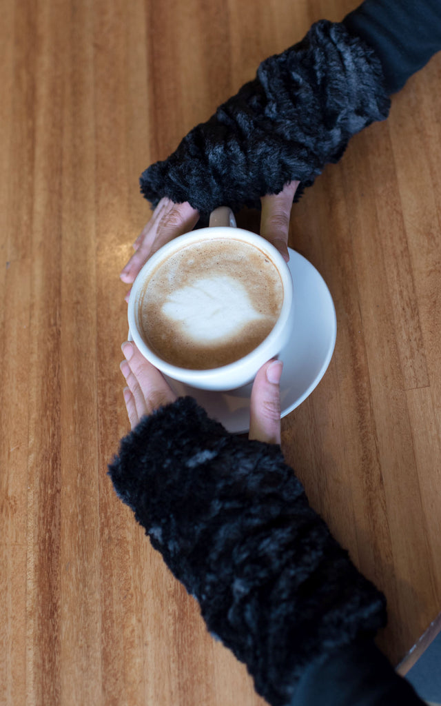 Fingerless / Texting Gloves, Reversible - Cuddly Faux Fur in Black Black - Solid Accessories Pandemonium Millinery