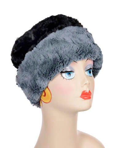 Cuffed Pillbox, Reversible (Solid or Two-Tone) - Cuddly Faux Fur in Black (One Large with Stone Left!) -  - Hats - Pandemonium Millinery