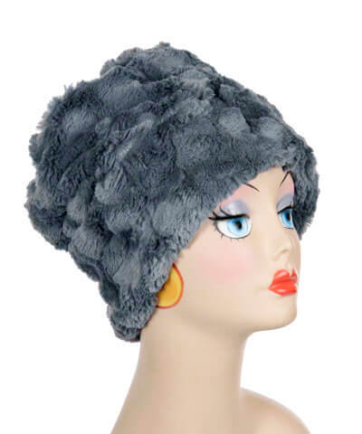 Cuffed Pillbox, Reversible (Solid or Two-Tone) - Cuddly Faux Fur in Slate - Medium / Slate - Solid - Hats - Pandemonium Millinery