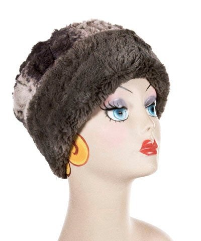 Cuffed Pillbox, Reversible (Solid or Two-Tone) - Luxury Faux Fur in Meerkat -  - Hats - Pandemonium Millinery
