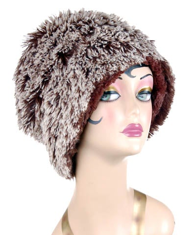 Cuffed Pillbox, Reversible (Solid or Two-Tone) - Fox Faux Fur Medium / Silver Tipped Fox in Brown / Chocolate Hats Pandemonium Millinery