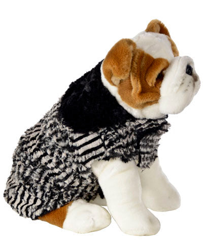 Dog Coat, Reversible – Luxury Faux Fur in Tipsy Zebra with Cuddly Fur in Black