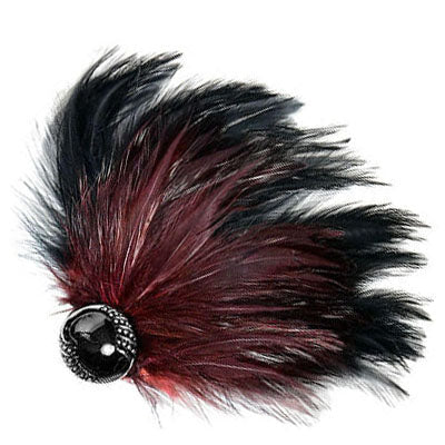 Women's Black Burgundy Feather Hat Trim with Button | Handmade in Seattle WA | Pandemonium Millinery