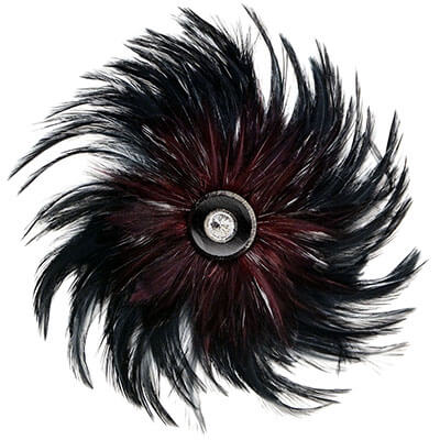Women's Feather Medallion in Black Burgundy with Silver/Black Glass Button | Handmade in Seattle WA | Pandemonium Millinery