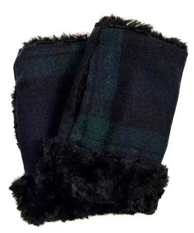 Fingerless / Texting Gloves - Wool Plaid in Nightfall with Cuddly Faux Fur