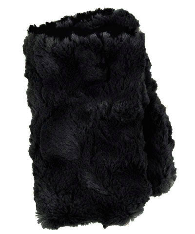 Men's Fingerless / Texting Gloves, Reversible - Cuddly Faux Fur in Ivory