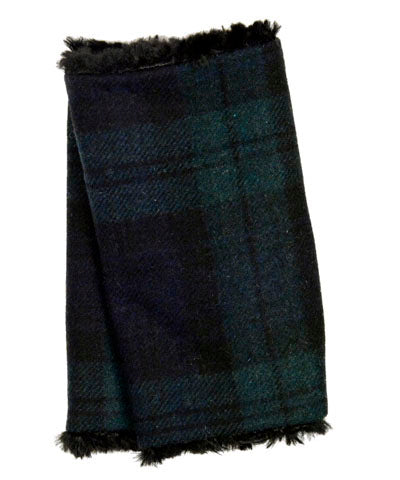 Fingerless / Texting Gloves - Wool Plaid in Nightfall with Cuddly Black Faux Fur (Only Three Left!)