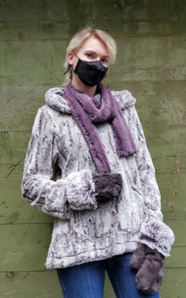 Hooded Lounger - Luxury Faux Fur in Khaki  and minky mauve skinny scarf handmade by Pandemonium Millinery