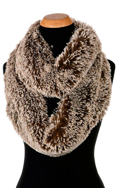 Infinity Scarf - Silver Tipped Fox Faux Fur in Brown (Classic Dye Lots - Limited Availability)