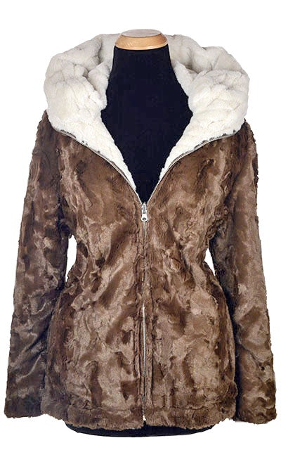 Loren Coat, Reversible - Luxury Faux Fur in Marshmallow Twist with Cuddly Fur in Black X-Small / Marshmallow Twist / Chocolate Outerwear Pandemonium Millinery