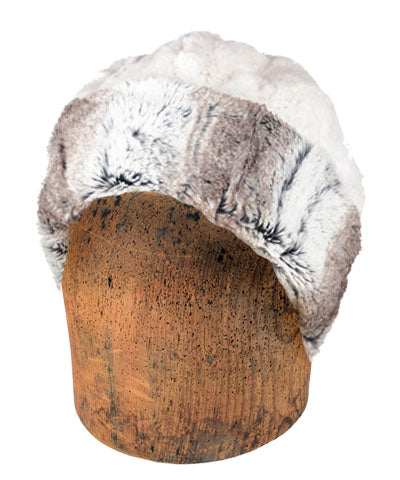 Men's Beanie Hat, Reversible - Luxury Faux Fur in Birch
