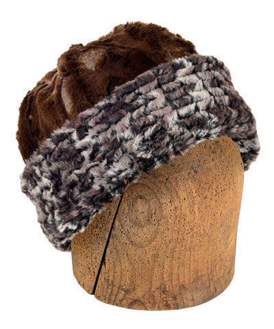 Men's Beanie Hat, Reversible - Luxury Faux Fur in Calico