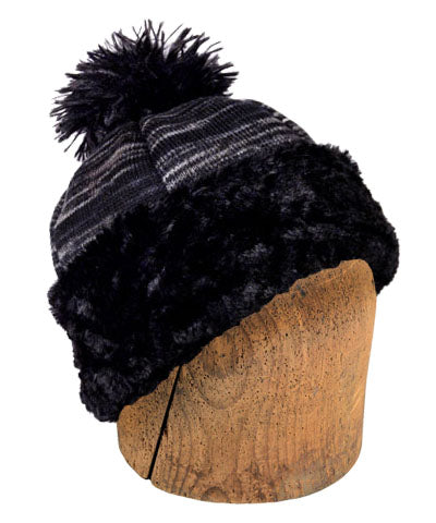 Men's Beanie Hat, Reversible - Sweet Stripes in Blackberry Cobbler with Assorted Faux Fur