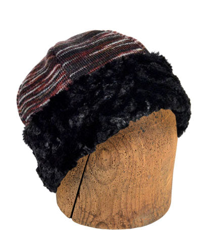 Men's Beanie Hat, Reversible - Sweet Stripes in Cherry Cordial with Assorted Faux Fur